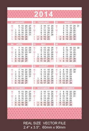 Pocket Calendar 2014, vector, start on Monday, 2 4  x 3 5 ,  60mm x 90mm Vector