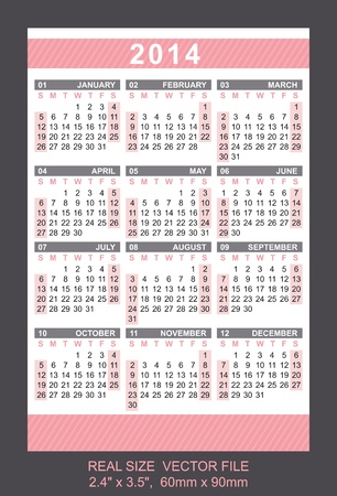Pocket Calendar 2014, vector, start on SundaySIZE  2 4  x 3 5 ,  60mm x 90mm Vector