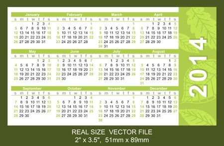 Pocket Calendar 2014, vector, start on SundaySIZE  2  x 3 5 ,  51mm x 89mmtype Ariel Vector