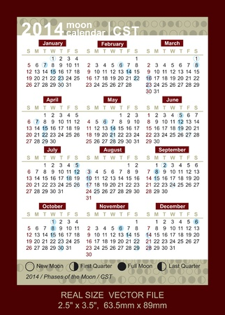 full time: Calendario de bolsillo 2014 Vectores