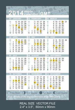 Pocket Calendar 2014 with Phases of the moon Vector
