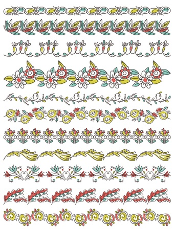 Set of Lace Paper with flower and leafs, vector illustration Vector