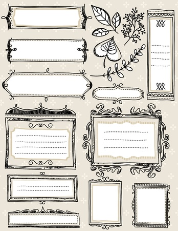 Set of special hand draw labels and banners Illustration
