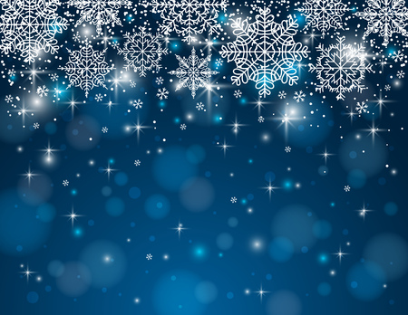 blue background with snowflakes, illustration  Contains transparent objects Vector