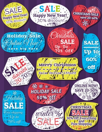 Set of special sale offer labels and banners for christmas,  Vector