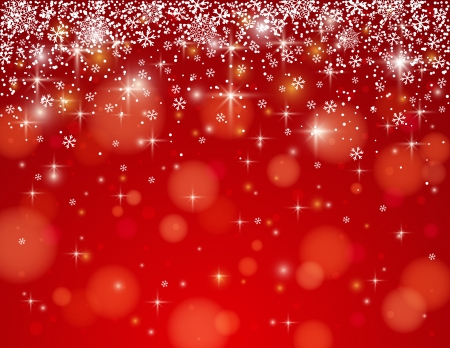 christams: red background with snowflakes, illustration