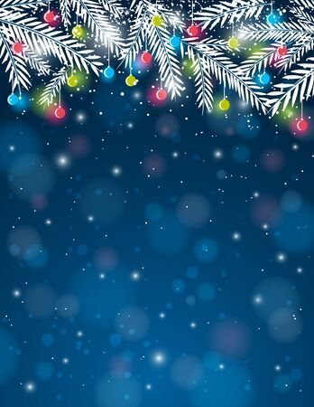 christma: background with  pine twig and christmas ball,  illustration Illustration
