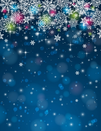 blue background with christmas stars and snowflakes, illustration Vector