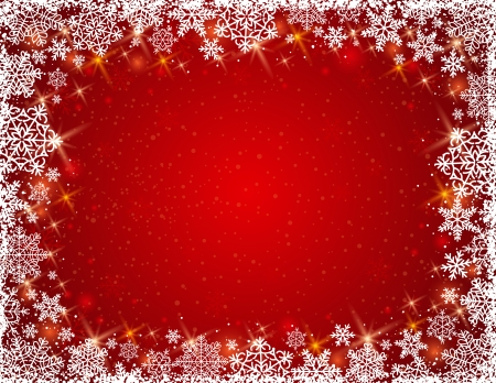 christams: red background with  frame of snowflakes, illustration