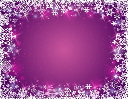 purple background with  frame of snowflakes, illustration Vector