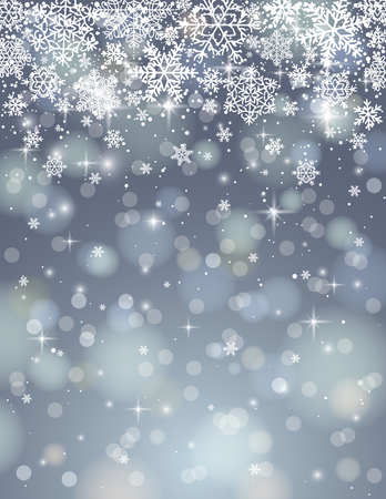 christams: grey background with many snowflakes, vector illustration