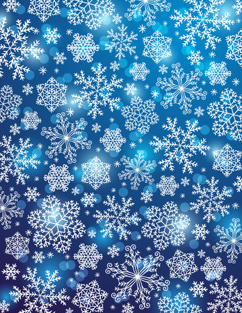 christams: blue background with snowflakes, vector illustration
