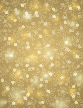 golden background with snowflakes, vector illustration