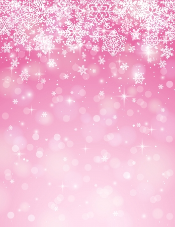 christams: pink background with snowflakes, vector illustration Illustration