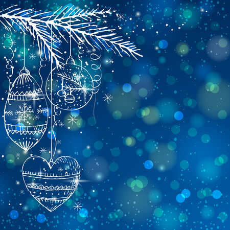 blue brightness background with christmas balls,  vector illustration Illustration