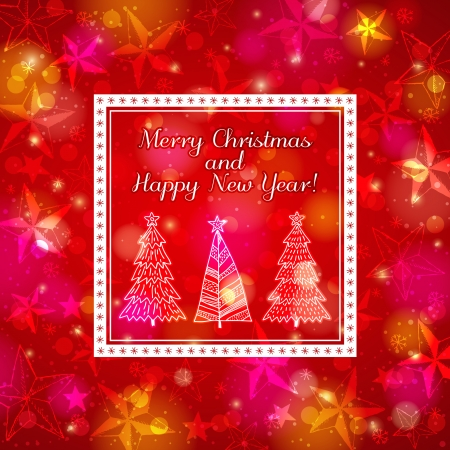 brightness: red brightness background with forest of christmas trees, vector illustration