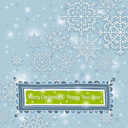 blue background of snowflakes with label, vector illustration Illustration