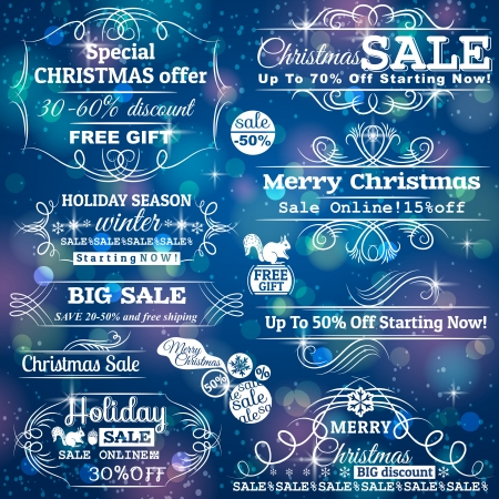 Set of special sale offer labels over blue christmas background, vector Vector