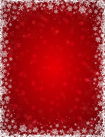 christams: red background with  frame of snowflakes, vector illustration