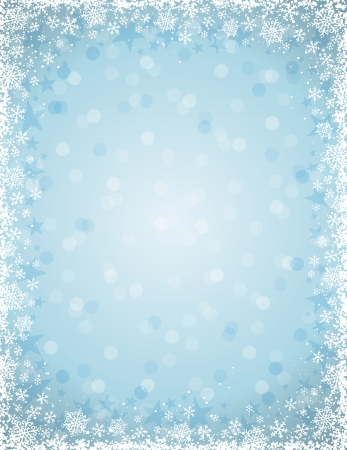 blue background with  frame of snowflakes, vector illustration Stok Fotoğraf - 23011428