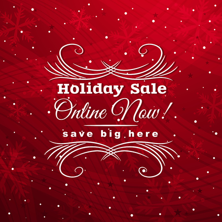 red christmas background with label for sale, vector illustration