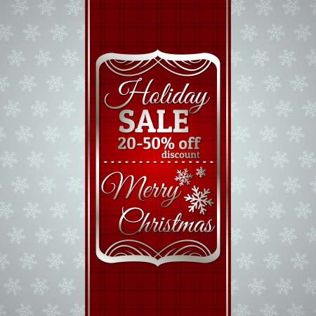 red christmas background and label with sale offer, vector illustration Vector