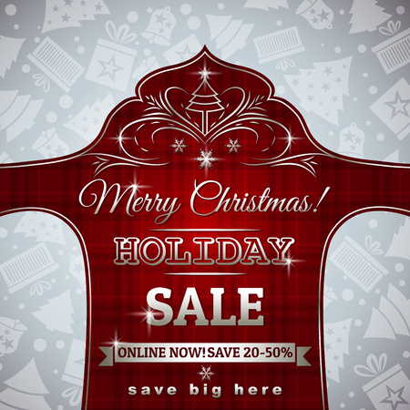 lustre: red christmas background and label with sale offer, vector illustration