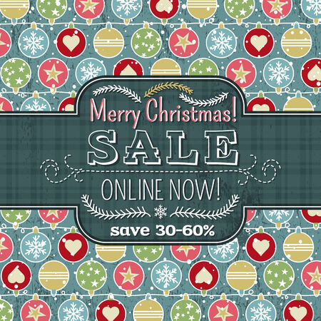 christmas sale: christmas background with balls and label for text,  vector illustration Illustration