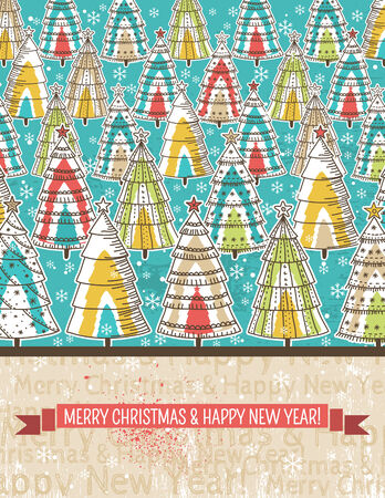 color background with christmas tree, vector illustration Vector