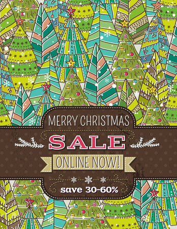 background with christmas trees and label with sale offer, vector illustration Vector