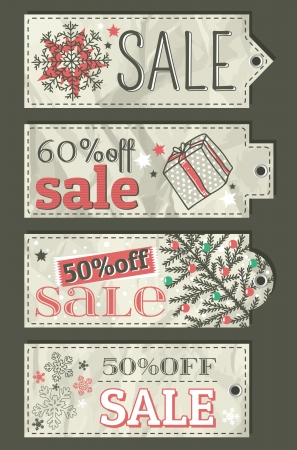 crumple christmas labels with sale offer, vector illustration Vector