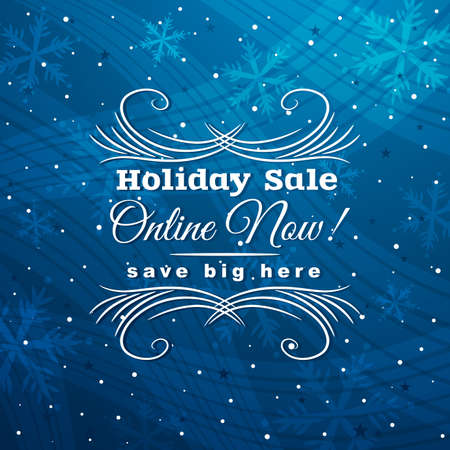 blue christmas background with label for sale, vector illustration