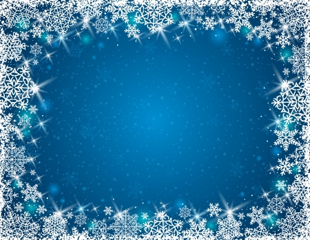 blue background with  frame of snowflakes, vector illustration Illustration
