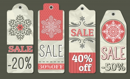 crumple: crumple christmas labels with sale offer, vector illustration