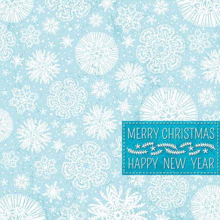 blue christmas background with snowflakes and label for text,  vector illustration Vector