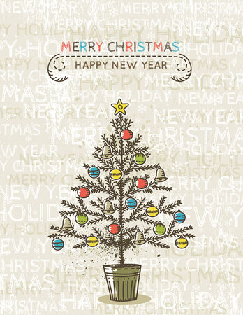 beige background with christmas tree, vector illustration Vector