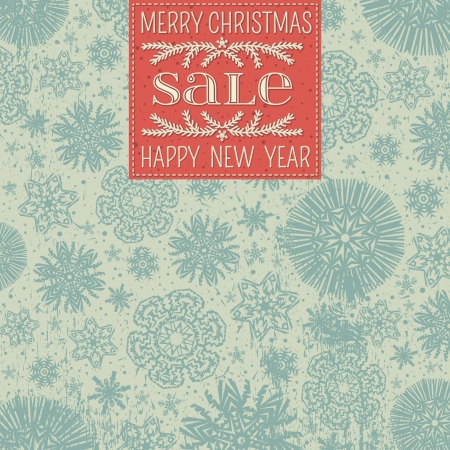 retro christmas background with snowflakes and red label for text,  vector illustration Vector