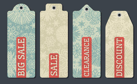 vintage christmas labels with sale offer, vector illustration Stock Vector - 24011867