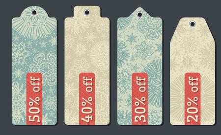 vintage christmas labels with sale offer, vector illustration Vector