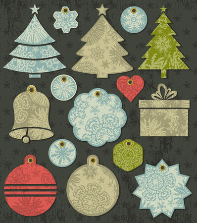 vintage christmas labels over grunge brown background, vector illustration Vector