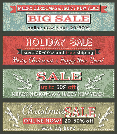 vintage christmas banners with sale offer, vector illustration Vector