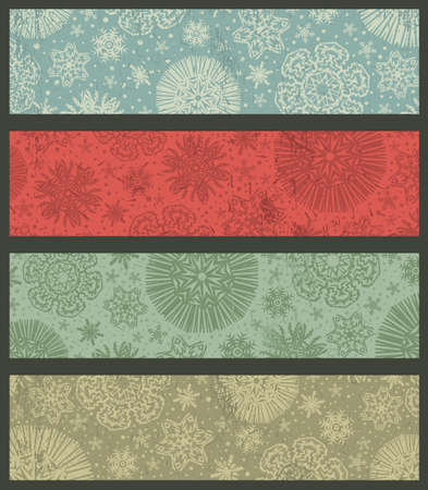 vintage color christmas banners, vector illustration Vector