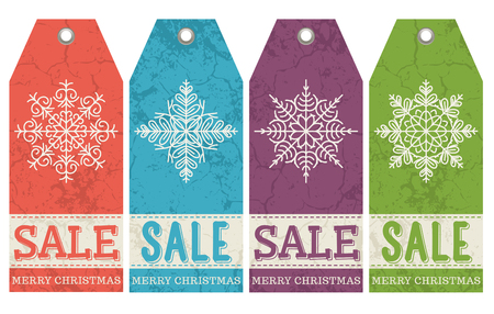 vintage christmas labels with sale offer, vector illustration Vector