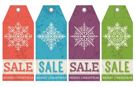 scrunch: vintage christmas labels with sale offer, vector illustration Illustration