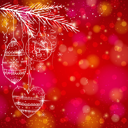 red brightness background with christmas balls,  vector illustration