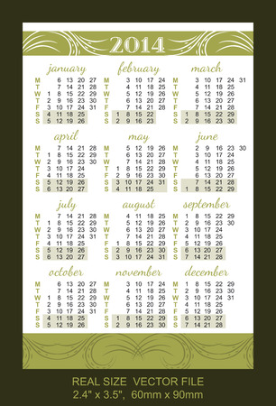 pocket size: Pocket Calendar 2014, vector, start on Monday SIZE  2 4  x 3 5 ,  60mm x 90mm