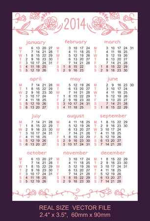 Pocket Calendar 2014, start on Monday  SIZE  2 4  x 3 5 ,  60mm x 90mm Vector