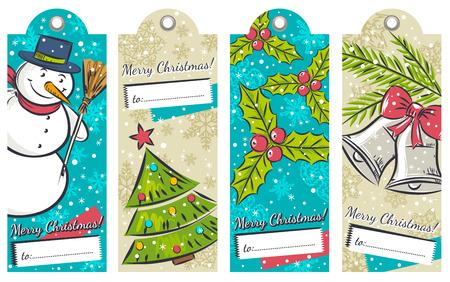 campanas de navidad: etiquetas de Navidad de la vendimia con el muñeco de nieve, árbol, campanas y acebo, ilustración vectorial Vectores