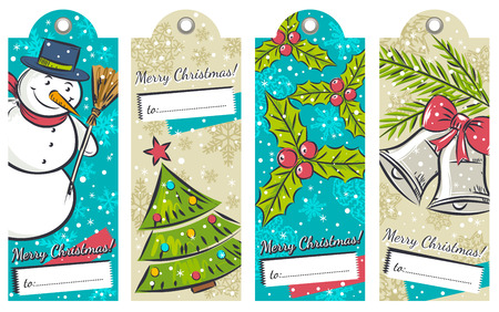 hand bells: vintage christmas labels with snowman, tree, bells and holly, vector illustration Illustration
