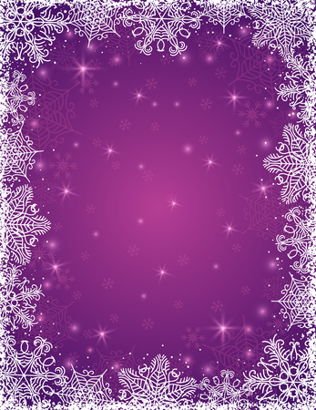 purple background with  frame of snowflakes, vector illustration Vector